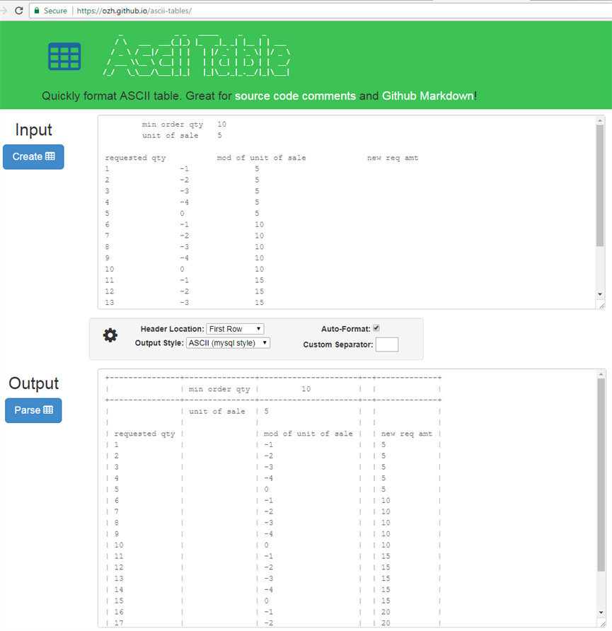 Ascii art - excel to source code table - Beweb Works